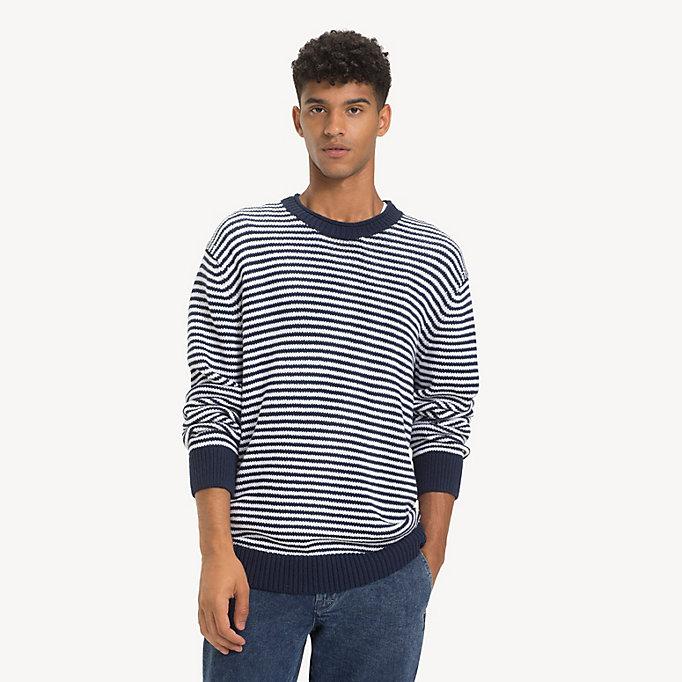 483616c90efbea blue gestreifter pullover aus reiner baumwolle für herren - tommy jeans