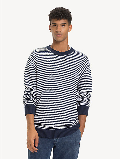 TOMMY JEANS Pure Cotton Stripe Jumper - BLACK IRIS / CLASSIC WHITE - TOMMY JEANS Knitwear - main image