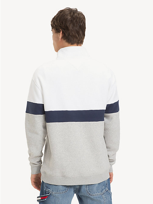 TOMMY JEANS Retro Mock Neck Jumper - LT GREY HTR / CLASSIC WHITE - TOMMY JEANS Sweatshirts & Hoodies - detail image 1