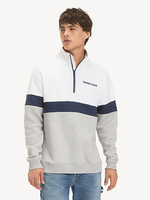 TOMMY JEANS Retro Mock Neck Jumper - LT GREY HTR / CLASSIC WHITE - TOMMY JEANS Sweatshirts & Hoodies - main image