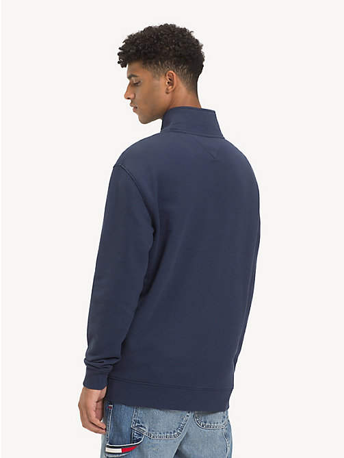 TOMMY JEANS Contrast Zip Mock Neck Jumper - BLACK IRIS - TOMMY JEANS Sweatshirts & Hoodies - detail image 1