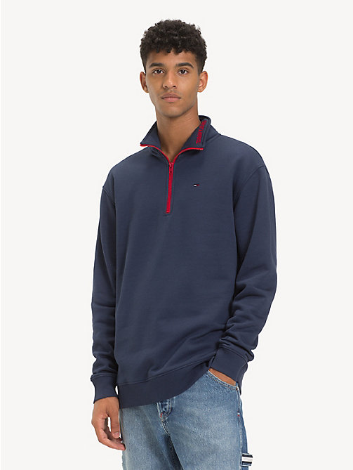 TOMMY JEANS Contrast Zip Mock Neck Jumper - BLACK IRIS - TOMMY JEANS Sweatshirts & Hoodies - main image