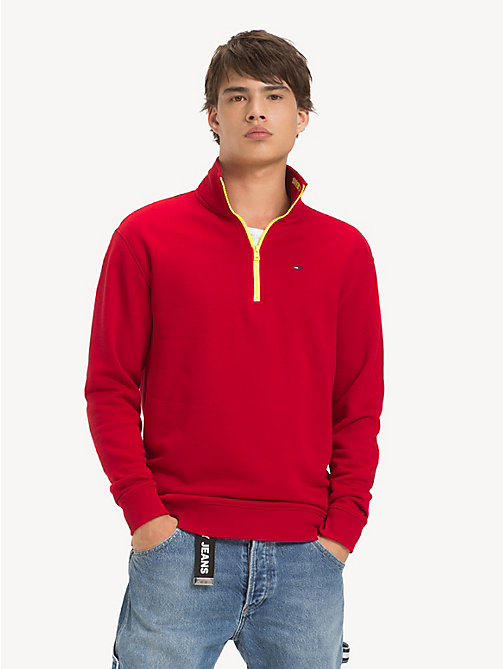TOMMY JEANS Contrast Zip Mock Neck Jumper - SAMBA - TOMMY JEANS Sweatshirts & Hoodies - main image