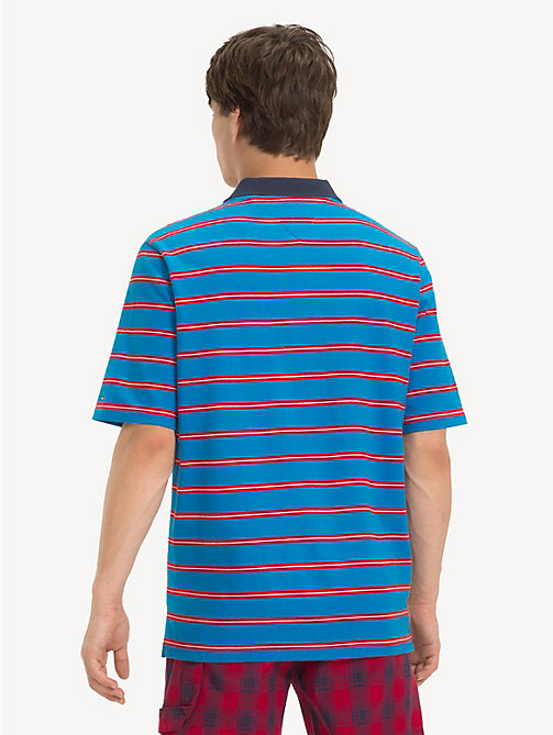 TOMMY JEANS Loose Jersey Stripe Polo Shirt - BRILLIANT BLUE/ MULTI - TOMMY JEANS T-Shirts & Polos - detail image 1