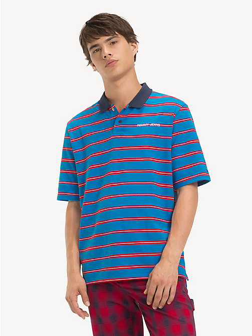TOMMY JEANS Loose Jersey Stripe Polo Shirt - BRILLIANT BLUE/ MULTI - TOMMY JEANS T-Shirts & Polos - main image