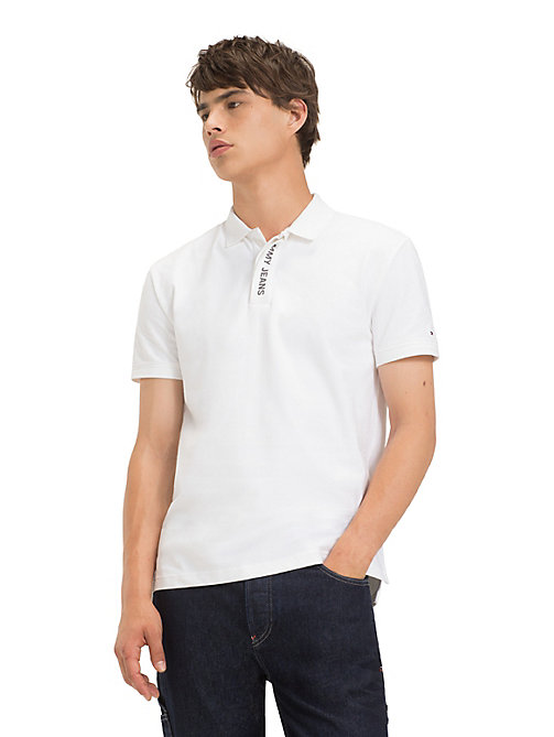TOMMY JEANS Tommy Jeans Placket Polo Shirt - CLASSIC WHITE - TOMMY JEANS T-Shirts & Polos - main image
