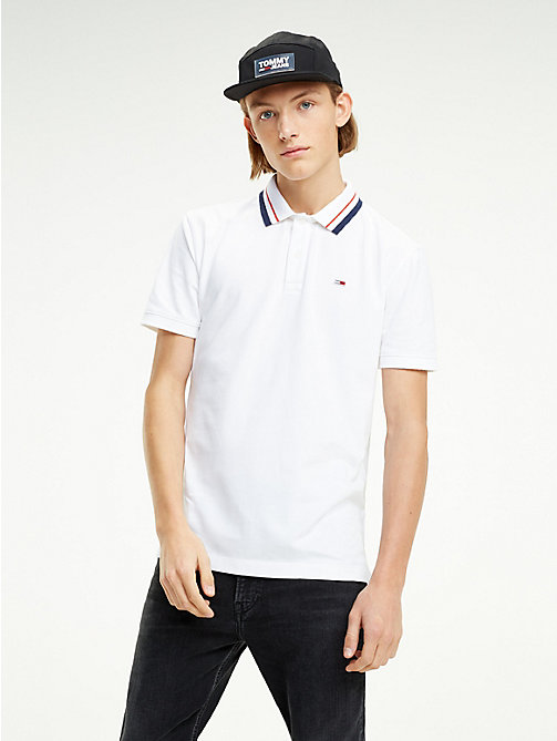 TOMMY JEANS Tommy Classics Logo Collar Polo Shirt - CLASSIC WHITE - TOMMY JEANS T-Shirts & Polos - main image