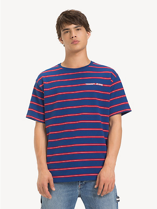 TOMMY JEANS Cotton Multi Stripe T-Shirt - LIMOGES / MULTI - TOMMY JEANS T-Shirts & Polos - main image