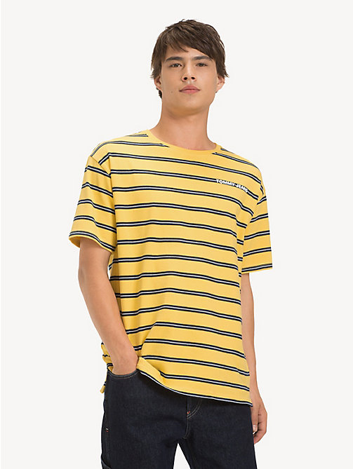 TOMMY JEANS Cotton Multi Stripe T-Shirt - ASPEN GOLD / MULTI - TOMMY JEANS T-Shirts & Polos - main image