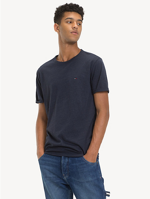 TOMMY JEANS Regular Fit Heathered T-Shirt - BLACK IRIS HTR - TOMMY JEANS T-Shirts & Polos - main image