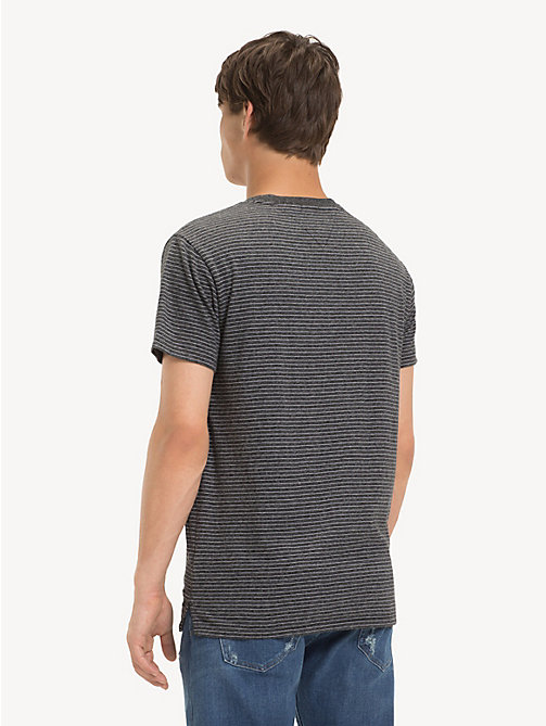 TOMMY JEANS Regular Fit Fine Stripe T-Shirt - TOMMY BLACK HTR - TOMMY JEANS T-Shirts & Polos - detail image 1