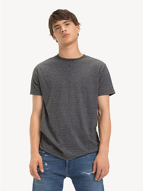 TOMMY JEANS Regular Fit Fine Stripe T-Shirt - TOMMY BLACK HTR - TOMMY JEANS T-Shirts & Polos - main image