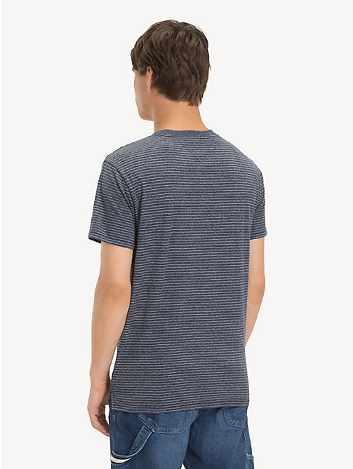 TOMMY JEANS Regular Fit Fine Stripe T-Shirt - BLACK IRIS HTR - TOMMY JEANS T-Shirts & Polos - detail image 1