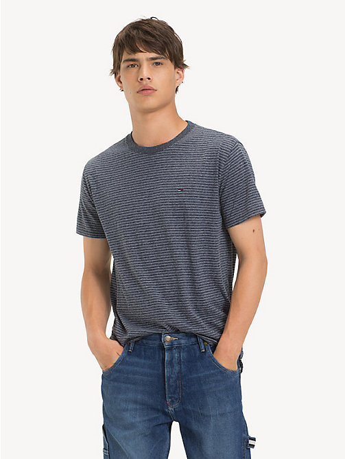 TOMMY JEANS Regular Fit Fine Stripe T-Shirt - BLACK IRIS HTR - TOMMY JEANS T-Shirts & Polos - main image