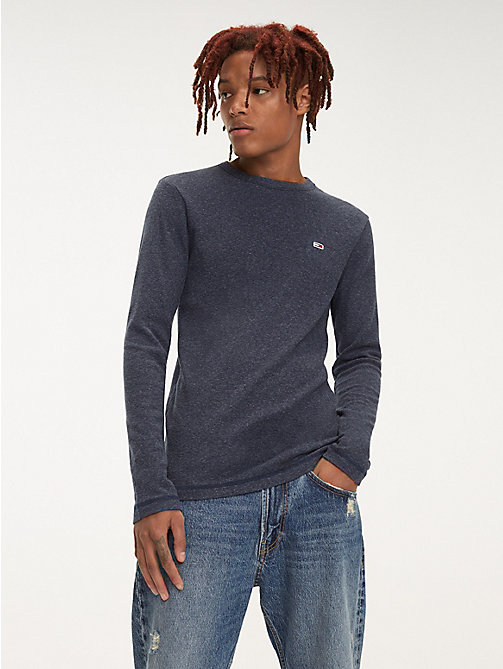 TOMMY JEANS Long Sleeve Heathered T-Shirt - BLACK IRIS - TOMMY JEANS T-Shirts & Polos - main image