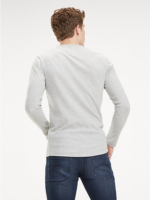 TOMMY JEANS Long Sleeve Heathered T-Shirt - LT GREY HTR - TOMMY JEANS T-Shirts & Polos - detail image 1