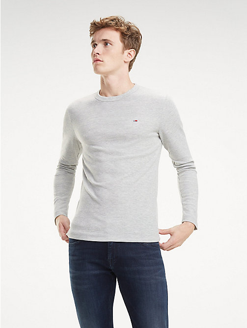 TOMMY JEANS Long Sleeve Heathered T-Shirt - LT GREY HTR - TOMMY JEANS T-Shirts & Polos - main image