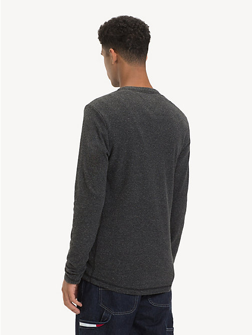 TOMMY JEANS Long Sleeve Heathered T-Shirt - TOMMY BLACK HTR - TOMMY JEANS T-Shirts & Polos - detail image 1