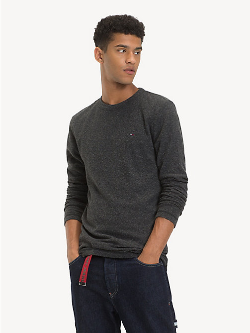 TOMMY JEANS Long Sleeve Heathered T-Shirt - TOMMY BLACK HTR - TOMMY JEANS T-Shirts & Polos - main image