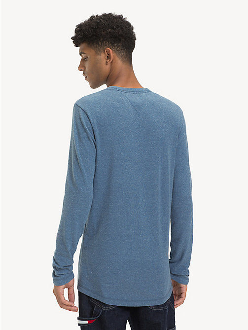 TOMMY JEANS Long Sleeve Heathered T-Shirt - CORONET BLUE HTR - TOMMY JEANS T-Shirts & Polos - detail image 1