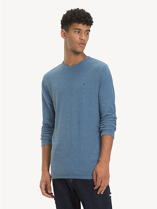 TOMMY JEANS Long Sleeve Heathered T-Shirt - CORONET BLUE HTR - TOMMY JEANS T-Shirts & Polos - main image