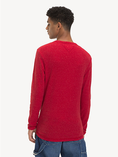 TOMMY JEANS Long Sleeve Heathered T-Shirt - SAMBA HTR - TOMMY JEANS T-Shirts & Polos - detail image 1