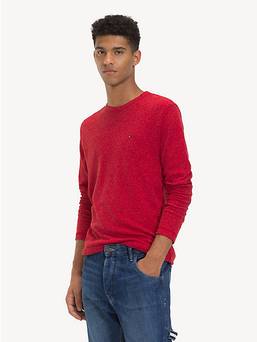 TOMMY JEANS Long Sleeve Heathered T-Shirt - SAMBA HTR - TOMMY JEANS T-Shirts & Polos - main image