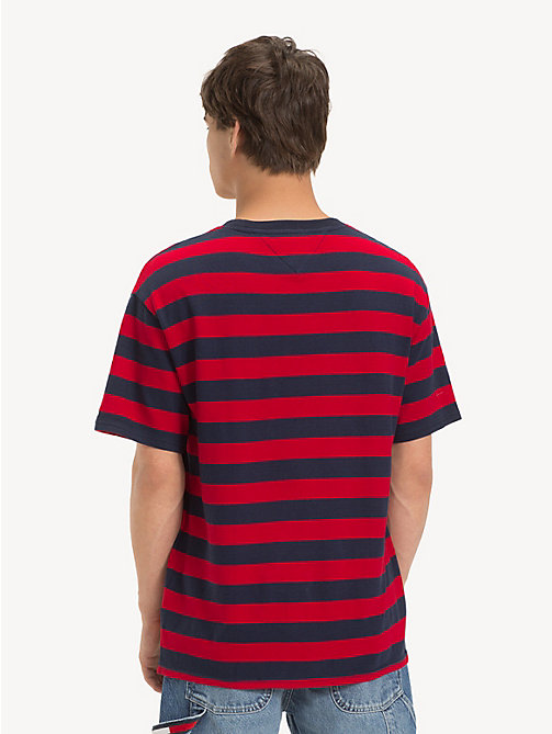 TOMMY JEANS Cotton Contrast Stripe T-Shirt - BLACK IRIS / SAMBA - TOMMY JEANS T-Shirts & Polos - detail image 1