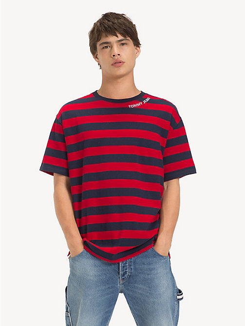 TOMMY JEANS Cotton Contrast Stripe T-Shirt - BLACK IRIS / SAMBA - TOMMY JEANS T-Shirts & Polos - main image