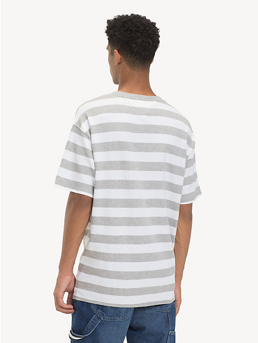 TOMMY JEANS Cotton Contrast Stripe T-Shirt - LT GREY HTR / CLASSIC WHITE - TOMMY JEANS T-Shirts & Polos - detail image 1