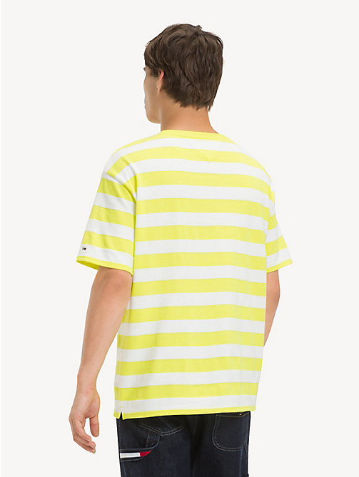 TOMMY JEANS Cotton Contrast Stripe T-Shirt - SAFETY YELLOW / CLASSIC WHITE - TOMMY JEANS T-Shirts & Polos - detail image 1
