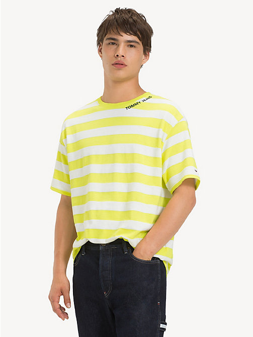 TOMMY JEANS Cotton Contrast Stripe T-Shirt - SAFETY YELLOW / CLASSIC WHITE - TOMMY JEANS T-Shirts & Polos - main image