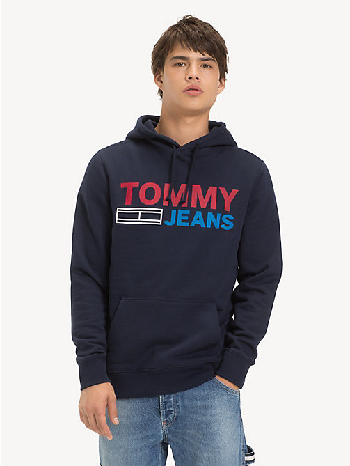 TOMMY JEANS Cotton Logo Hoody - BLACK IRIS - TOMMY JEANS Sweatshirts & Hoodies - main image