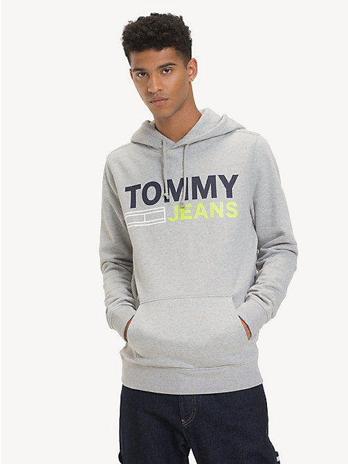 TOMMY JEANS Cotton Logo Hoody - LT GREY HTR - TOMMY JEANS Sweatshirts & Hoodies - main image