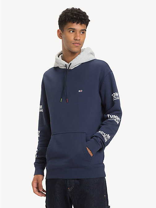 TOMMY JEANS Graphic Cotton Blend Hoody - BLACK IRIS - TOMMY JEANS Sweatshirts & Hoodies - main image