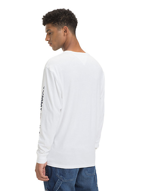 TOMMY JEANS Long Sleeve Logo T-Shirt - CLASSIC WHITE - TOMMY JEANS T-Shirts & Polos - detail image 1