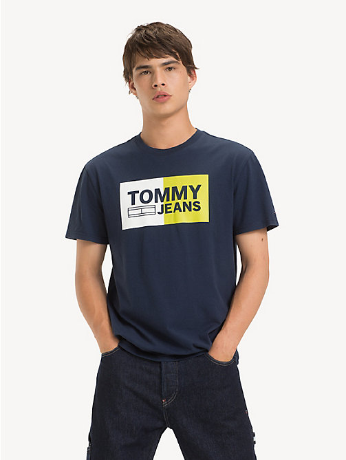 TOMMY JEANS Cotton Embossed Logo T-Shirt - BLACK IRIS - TOMMY JEANS T-Shirts & Polos - main image