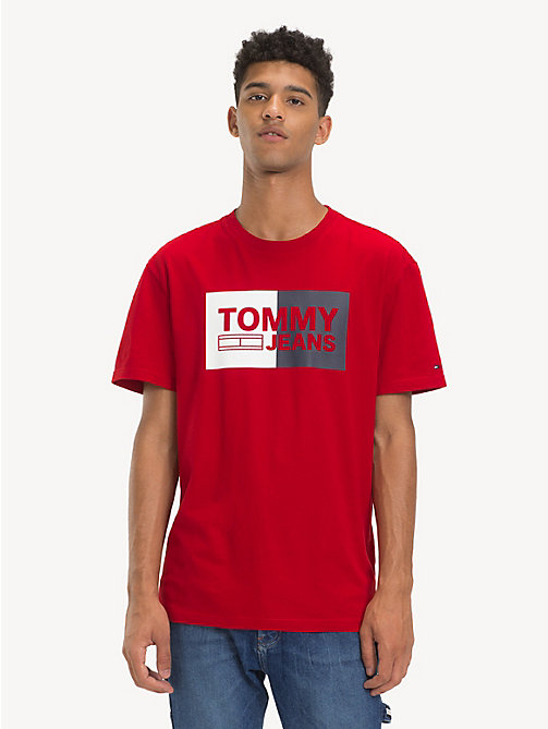 TOMMY JEANS Cotton Embossed Logo T-Shirt - SAMBA - TOMMY JEANS T-Shirts & Polos - main image
