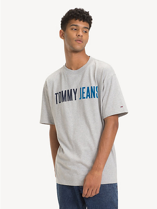 TOMMY JEANS Cotton Tommy Jeans Logo T-Shirt - LT GREY HTR - TOMMY JEANS T-Shirts & Polos - main image