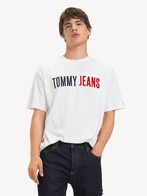 TOMMY JEANS Cotton Tommy Jeans Logo T-Shirt - CLASSIC WHITE - TOMMY JEANS T-Shirts & Polos - main image