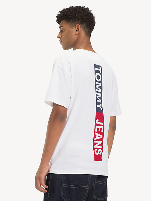 TOMMY JEANS Cotton Back Logo Tape T-Shirt - CLASSIC WHITE - TOMMY JEANS T-Shirts & Polos - detail image 1