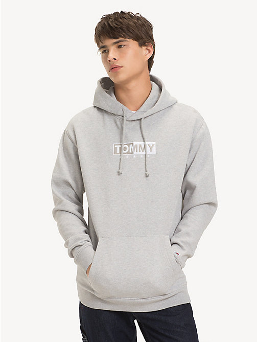 TOMMY JEANS Fleece Embroidered Hoody - LT GREY HTR - TOMMY JEANS Sweatshirts & Hoodies - main image