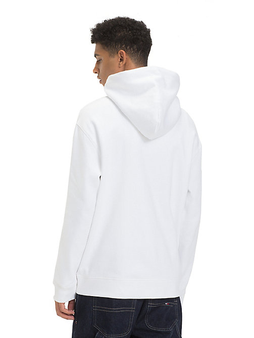 TOMMY JEANS Fleece Embroidered Hoody - CLASSIC WHITE - TOMMY JEANS Sweatshirts & Hoodies - detail image 1