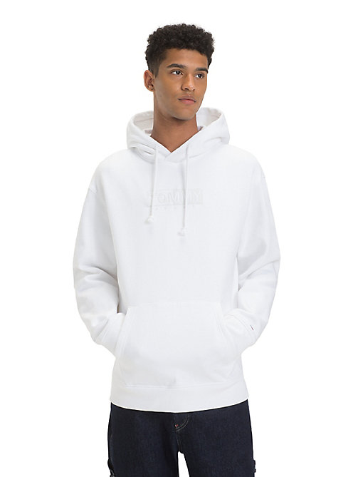 TOMMY JEANS Fleece Embroidered Hoody - CLASSIC WHITE - TOMMY JEANS Sweatshirts & Hoodies - main image