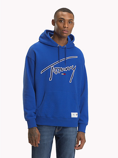 TOMMY JEANS Signature Cotton Hoodie - SURF THE WEB - TOMMY JEANS Sweatshirts & Hoodies - main image