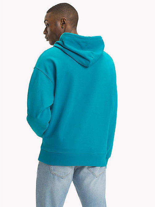 TOMMY JEANS Signature Cotton Hoodie - ENAMEL BLUE - TOMMY JEANS Signature Collection - detail image 1