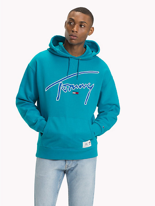 TOMMY JEANS Signature Cotton Hoodie - ENAMEL BLUE - TOMMY JEANS Sweatshirts & Hoodies - main image