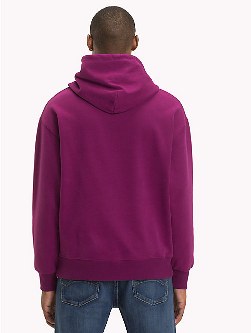 TOMMY JEANS Signature Cotton Hoodie - DARK PURPLE - TOMMY JEANS Signature Collection - detail image 1