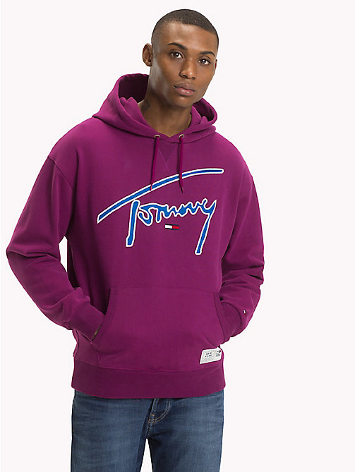 TOMMY JEANS Signature Cotton Hoodie - DARK PURPLE - TOMMY JEANS Sweatshirts & Hoodies - main image