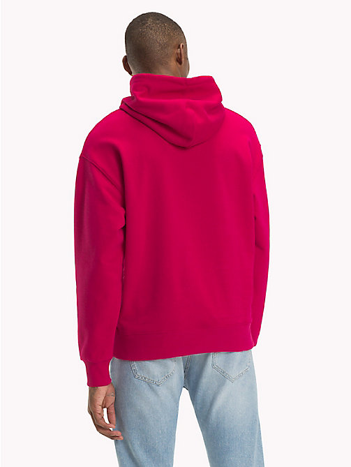 TOMMY JEANS Signature Cotton Hoodie - CERISE - TOMMY JEANS Sweatshirts & Hoodies - detail image 1